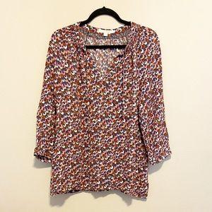 Boden Long Sleeve V- Neck Blouse Size 16